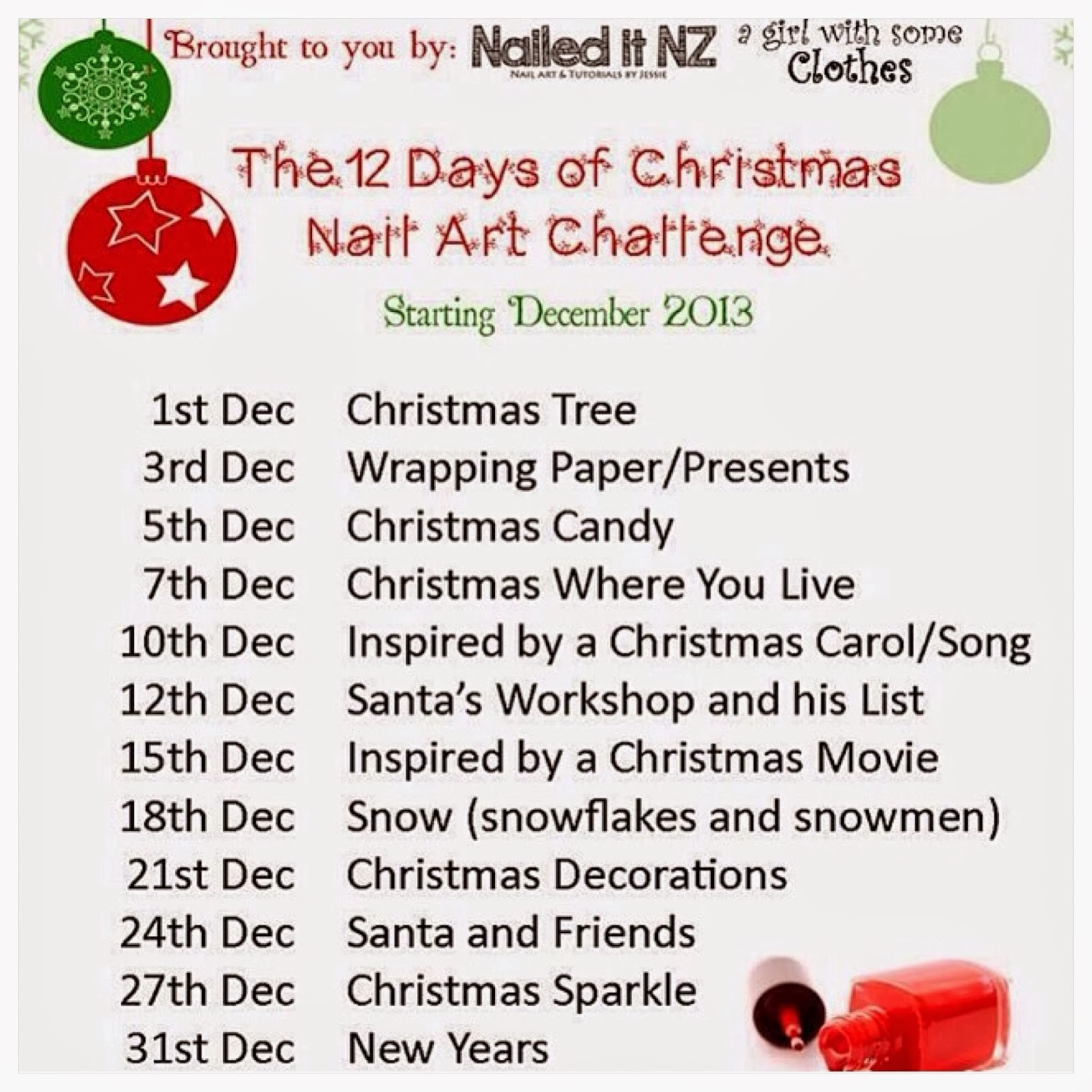 12 Days Of Christmas List.The 12 Days Of Christmas Nail Art Challenge Day Six